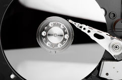 Hard Disk Close Up With Reflection Stock Image