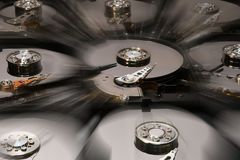 Hard Disk Computer Drives opened and aligned. Royalty Free Stock Photography