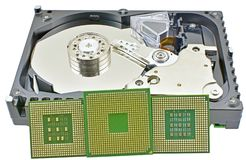 Hard disk and CPU isolated on white. Background royalty free stock photos