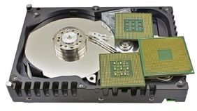 Hard disk and CPU isolated on white. Background royalty free stock images
