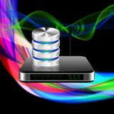 Hard disk and database with wireless Router with the antenna il Stock Image
