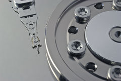 Hard disk detail. Macro shot of computer hard disk surface with read-write head Stock Images