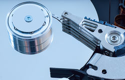 Hard disk detail with a blue hue Stock Image