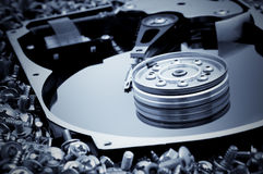 Hard disk detail on bolts background Royalty Free Stock Images