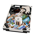 Hard disk detail with media data this on a surface Stock Photos