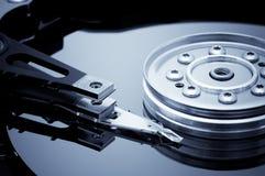 Hard disk detail. Open hard disk detail. Blue toned image Stock Photo