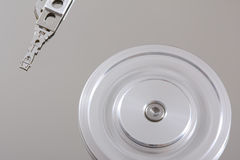 Hard Disk Details III. A close up picture of an open hard disk Stock Image