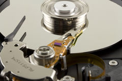 Hard disk from within with disk rotation. Hard disk from within close up Stock Photo