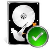 Hard disk dive Solved problem icon. Hard disk dive Failure solved problem icon on white background vector illustration