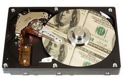 Hard disk, dollars, one Stock Photos