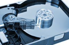 Hard Disk Drive. Macro shoot of opened on white Stock Image