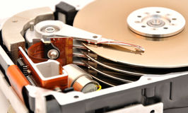 Hard disk drive. Close-up inside view of hard disk royalty free stock photography
