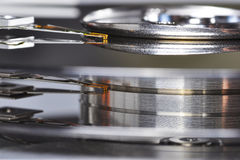 Hard disk drive. A close-up of an hard disk drive head, seen from the side Stock Images