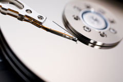 Hard disk drive. Close up of modern opened hard disk drive Royalty Free Stock Photo