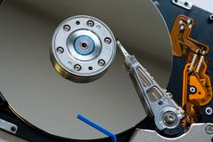 Hard Disk Drive. Close-up shot of an opened computer hard disk drive stock photography