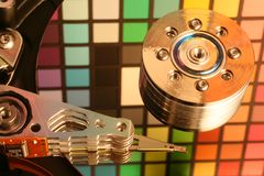Hard disk drive 6. Close-up of the opened Hard Disk Drive royalty free stock photography