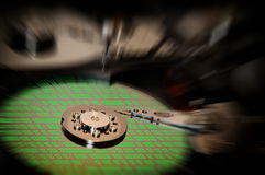 Hard Disk Drive with abstract color reflection. Stock Photo