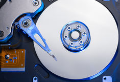 Hard disk drive in blue light Royalty Free Stock Image