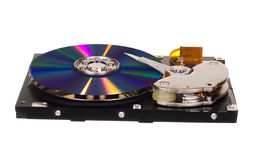 Hard disk drive with CD/DVD instead of magnetic plate Stock Photography