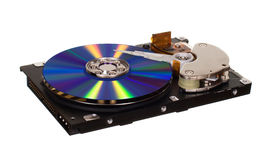 Hard disk drive with CD/DVD instead of magnetic plate Royalty Free Stock Images