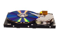 Hard disk drive with CD/DVD instead of magnetic plate Royalty Free Stock Photos