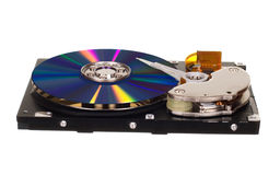 Hard disk drive with CD/DVD instead of magnetic plate Royalty Free Stock Photo