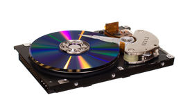 Hard disk drive with CD/DVD instead of magnetic plate Stock Photo