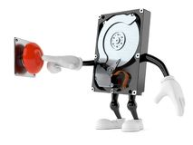 Hard disk drive character pushing button. Isolated on white background. 3d illustration Royalty Free Stock Image