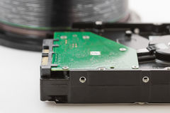 Hard disk drive and compact discs Stock Images