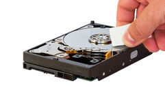 Hard disk drive data erase Stock Photography
