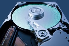 Hard disk drive with data in extreme perspective Stock Photography