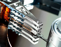 Hard disk drive detail. Close-up Royalty Free Stock Photos