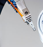 Hard disk drive detail. Close-up Stock Photography