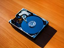 Hard Disk Drive. Detail of the Opened Hard Disk Drive on the Table Stock Photography