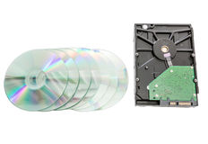 Hard disk drive and dvd disc Stock Photography