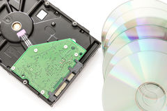 Hard disk drive and dvd disc Royalty Free Stock Image