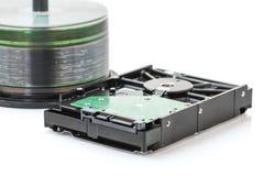 Hard disk drive and dvd discs Stock Photos