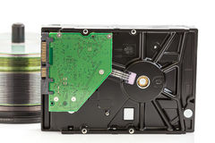 Hard disk drive and dvd discs Stock Images