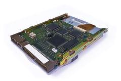 Hard disk drive electronics. On white background stock photo