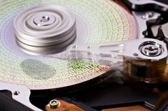 Hard disk drive with fingerprint - one-six Royalty Free Stock Images