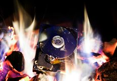 Hard Disk Drive in a Fire. Crushed Hard Disk Drive in the Fire royalty free stock photos
