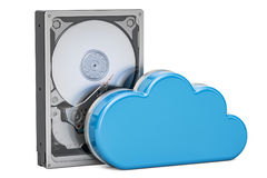 Hard Disk Drive HDD with computing cloud. Storage concept, 3D re Royalty Free Stock Photography