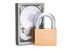 Hard Disk Drive HDD with padlock. Security and protection concep Royalty Free Stock Images