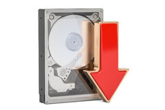 Hard Disk Drive HDD with red arrow download data concept, 3D ren. Hard Disk Drive HDD with red arrow download data concept Stock Images