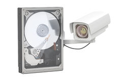 Hard Disk Drive HDD for security surveillance system, 3D renderi Stock Image