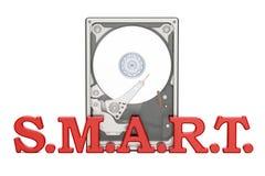 Hard Disk Drive HDD smart monitoring and reporting concept, 3D r. Hard Disk Drive HDD smart monitoring and reporting concept Stock Image