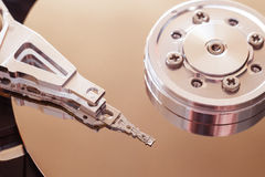 Hard disk drive inside. Data safety concept Royalty Free Stock Photo