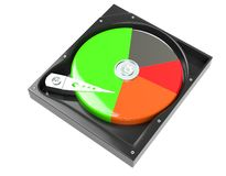 Hard disk drive inside with free and data diagram 3d illustration. Hard disk drive inside with free and data diagram 3d render Stock Illustration