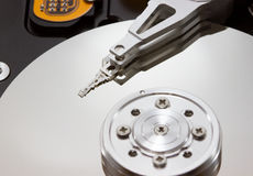 Hard disk drive inside. Macro style Royalty Free Stock Photo