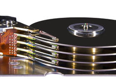 Hard disk drive - magnetic heads. Hard disk drive, view on magnetic heads royalty free stock photo
